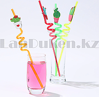 Трубочки для коктейлей многоразовые из твердого пластика тематические
