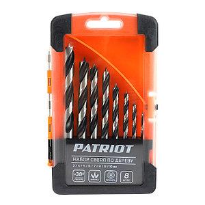 Набор сверл по дереву Patriot спиральные, W-образная заточка, 8 шт: 3, 4, 5, 6, 7, 8, 9, 10 мм