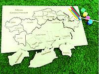 """Пазл-раскраска Карта Казахстана """"2 в 1"""" 30*20 см."""