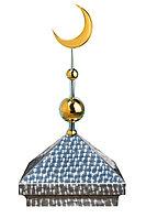 Навершие. Купол на мазар. Чешуя с золотым объемным полумесяцем d-230 с 2-мя шарами