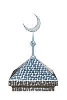Навершие. Купол на мазар. Чешуя с объемным полумесяцем d-230 серебро. На колонну 39,5 х 39,5 см.
