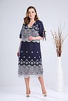 Женское летнее кружевное синее большого размера платье Verita 2105 синий_с_белым 58р.