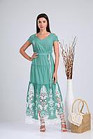Женское летнее кружевное зеленое платье Verita 1199 бирюза 50р.