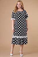 Женское летнее черное нарядное большого размера платье Svetlana-Style 1541 черный+белый_горох 54р.