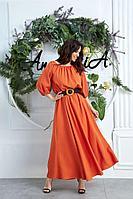 Женское летнее из вискозы оранжевое большого размера платье Anastasia 639 оранжевый 48р.
