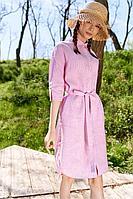 Женское летнее льняное розовое платье Colors of PAPAYA 1525 розовый+полоски 42р.