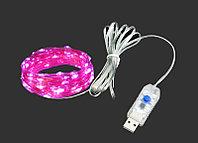 Светодиодная нить USB с пультом 20 м, розовый свет