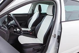 Авточехлы из экокожи Daewoo Nexia с подголовниками (2003-2021) Белый
