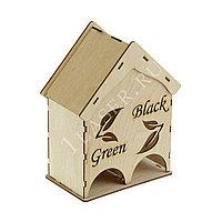 Деревянный домик для чайных пакетиков на 2 отделения