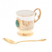 """Кофейная чашка """"Малахит"""" фарфор 80 мл в подарочной коробке Златоуст"""