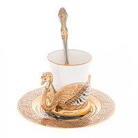"""Кофейная пара """"Белый лебедь"""" чашка фарфор 80 мл на блюдце с ложкой в подарочной коробке Златоуст"""