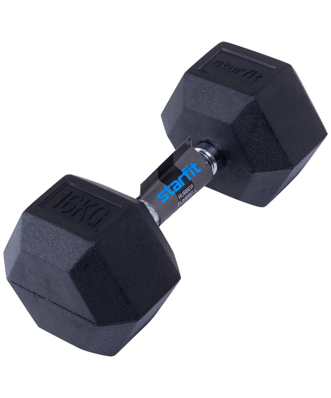 Гантель обрезиненная DB-301 16 кг, черная Starfit