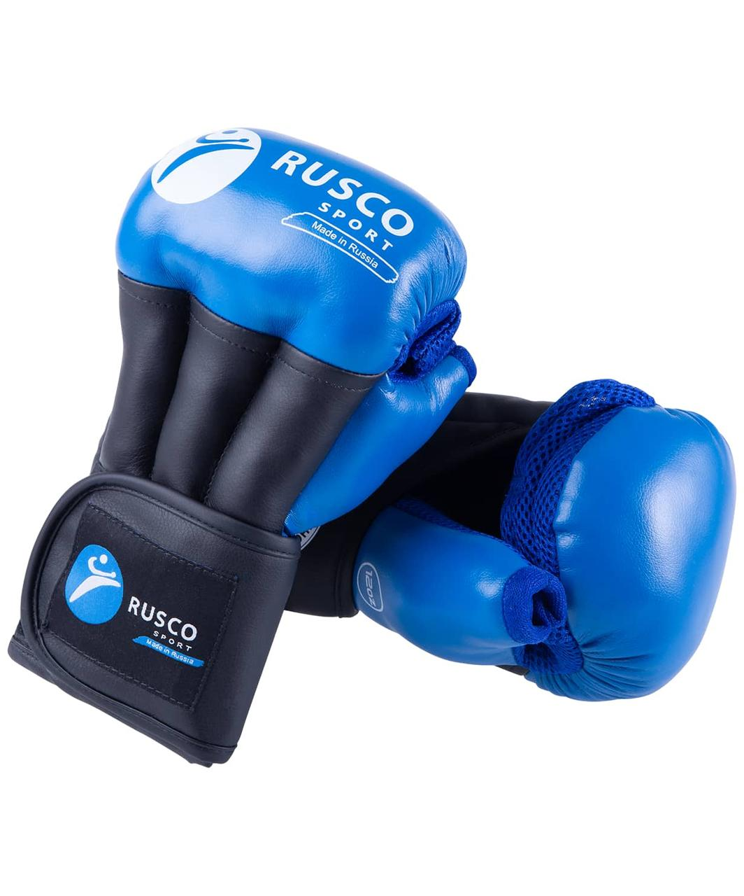 Перчатки для рукопашного боя PRO, к/з, синий Rusco