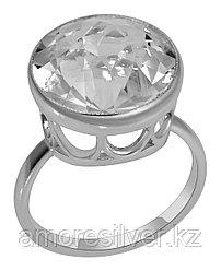 Кольцо Teosa серебро с родием, горный хрусталь, , круг 13513Р размеры - 17,5 18