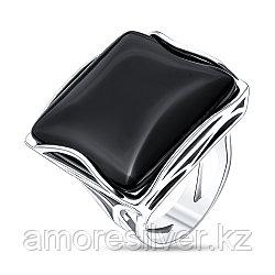 Кольцо Невский серебро с родием, агат черный, квадрат 13212Р размеры - 19,5