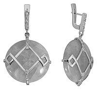 Серьги Невский серебро с родием, кварц розовый фианит, круг 43111