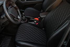 Авточехлы из экокожи Hyundai Solaris (2017-2021) Ромб, Черный зад. сид. 60/40