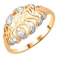 Кольцо Золотые узоры серебро с позолотой, без вставок, ажурное 97-01-0608-00