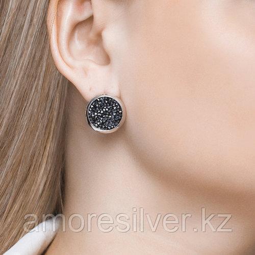 Серьги SOKOLOV серебро с родием, кристалл swarovski fine rocks , многокаменка 94022680 - фото 4