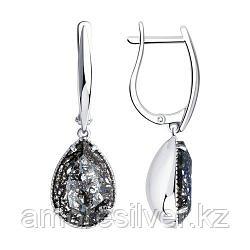 Серьги SOKOLOV серебро с родием, кристалл swarovski  94022222