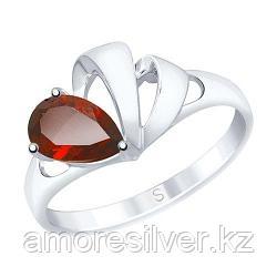 Кольцо SOKOLOV серебро с родием, гранат 92011583 размеры - 16 17