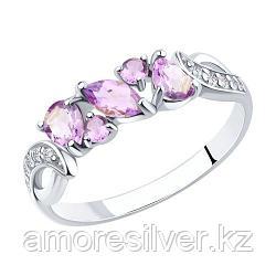 Кольцо SOKOLOV серебро с родием, аметист фианит  92011593 размеры - 18 18,5 19