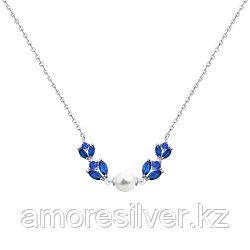 Колье Teosa серебро с родием, жемчуг имит. фианит, флора 94070174 размеры - 50