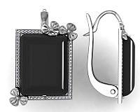 Серьги Приволжский Ювелир серебро с родием, агат фианит, геометрия 361017