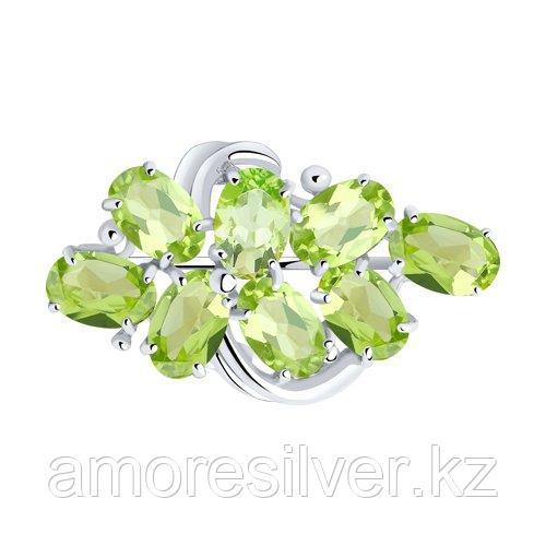 Брошь SOKOLOV серебро с родием, хризолит, многокаменка 92040031