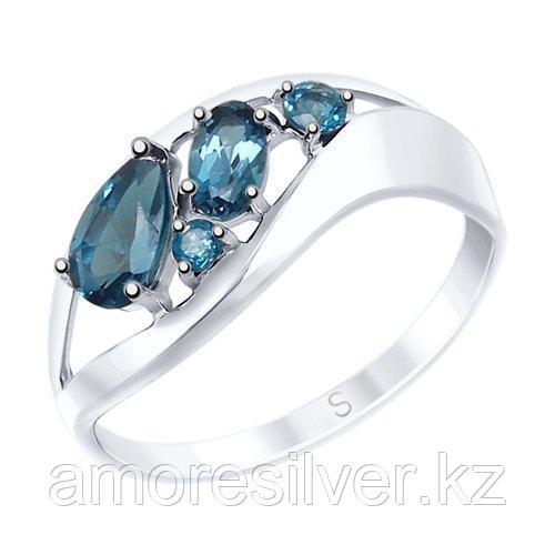 Кольцо SOKOLOV серебро с родием, топаз 92011573 размеры - 17