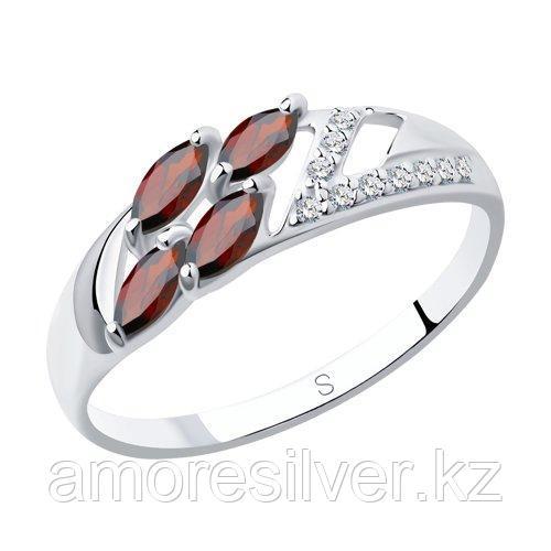 Кольцо SOKOLOV серебро с родием, гранат фианит  92011643 размеры - 16,5 17,5