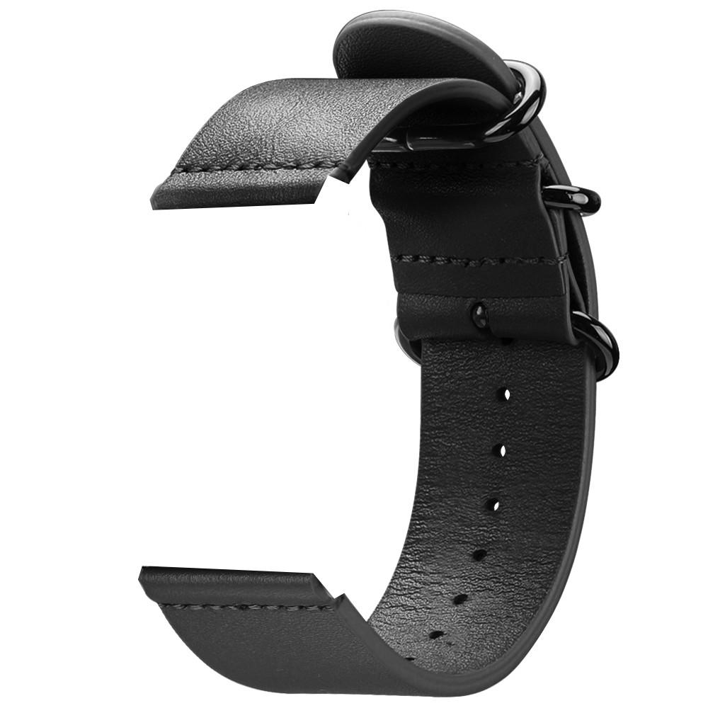 Ремешок кожаный для смарт часов 20 мм черный - фото 4