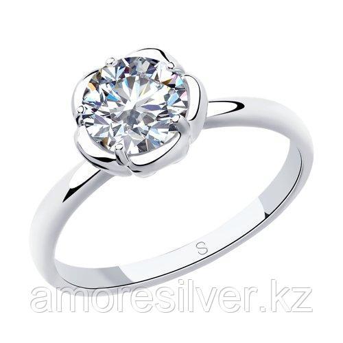 Кольцо SOKOLOV серебро с родием, фианит  94012957 размеры - 16,5 17 17,5 18 18,5 19 19,5
