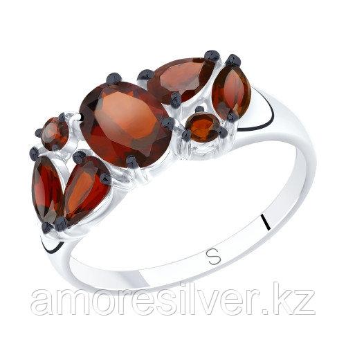Кольцо SOKOLOV серебро с родием, гранат, многокаменка 92011809 размеры - 17 17,5 18