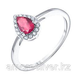 "Кольцо Teosa серебро с родием, топаз белый рубин нат. (h), , ""halo"" R-DRGR00906-RB-T размеры - 17,5"