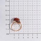 Кольцо ЯНТАРНАЯ ЛАГУНА серебро с позолотой, янтарь янтарь коньячный, квадрат 4LP363 размеры - 18, фото 2
