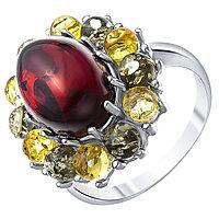 Кольцо Darvin серебро с родием, янтарь микс, овал 920061339aa размеры - 18