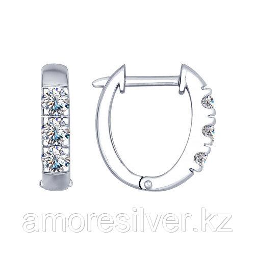 Серьги SOKOLOV серебро с родием, фианит swarovski , дорожка 89020049