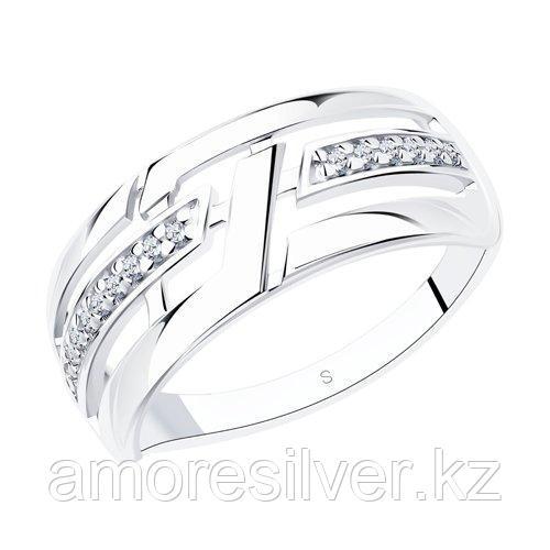 Кольцо SOKOLOV серебро с родием, фианит  94012614 размеры - 17