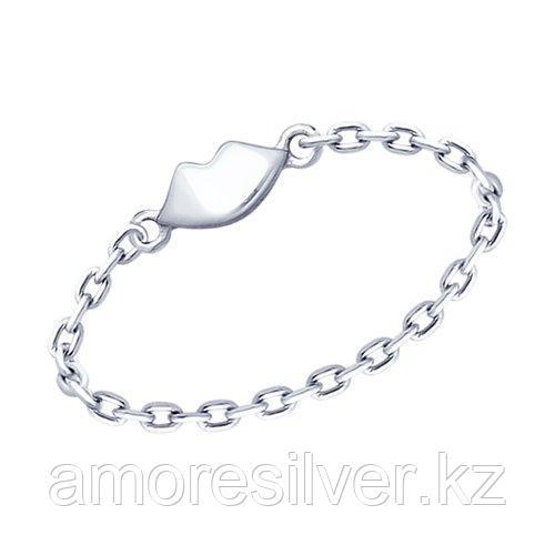 Кольцо SOKOLOV серебро с родием, без вставок 94012616 размеры - 16 17