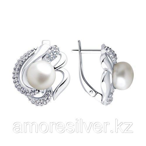 Серьги SOKOLOV серебро с родием, жемчуг пресноводный фианит  94023295