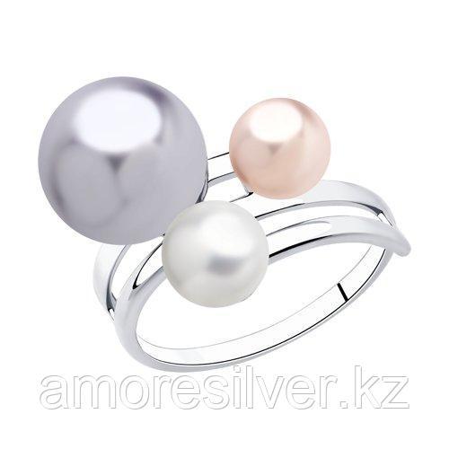 Кольцо SOKOLOV серебро с родием, жемчуг swarovski синт.  94013044 размеры - 17,5
