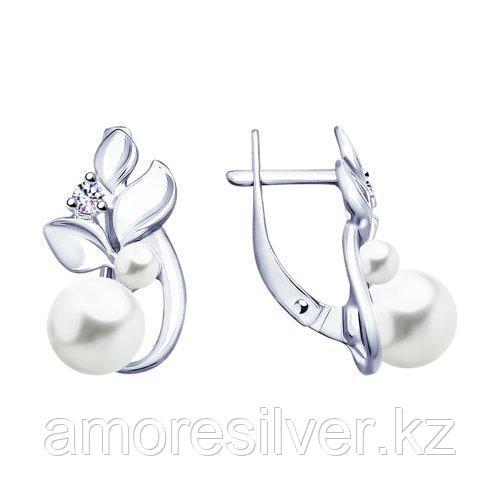 Серьги SOKOLOV серебро с родием, фианит  жемчуг синт. 94023110