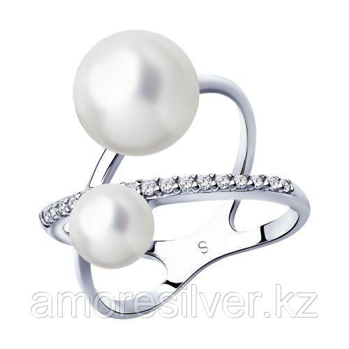 Кольцо SOKOLOV серебро с родием, фианит  жемчуг синт. 94013023 размеры - 20