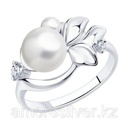 Кольцо SOKOLOV серебро с родием, фианит  жемчуг синт. 94012959 размеры - 17,5 20 20,5