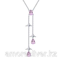 Колье SOKOLOV серебро с родием, аметист, многокаменка 92070043 размеры - 40 50