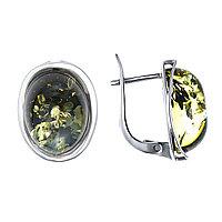 Серьги Darvin серебро с родием, янтарь зеленый, овал 929011214aa