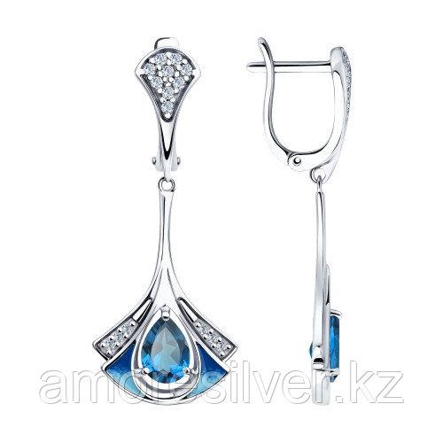 Серьги SOKOLOV серебро с родием, топаз фианит эмаль 92022009