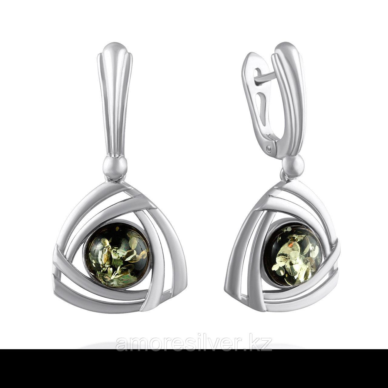 Серьги Darvin серебро с родием, янтарь зеленый,  929011363ab