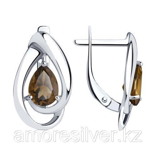 Серьги DIAMANT ( SOKOLOV ) серебро с родием, раух-топаз 94-320-00594-4